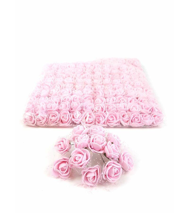 Csomagos mini polyfoam rózsa tülös - Rózsaszín