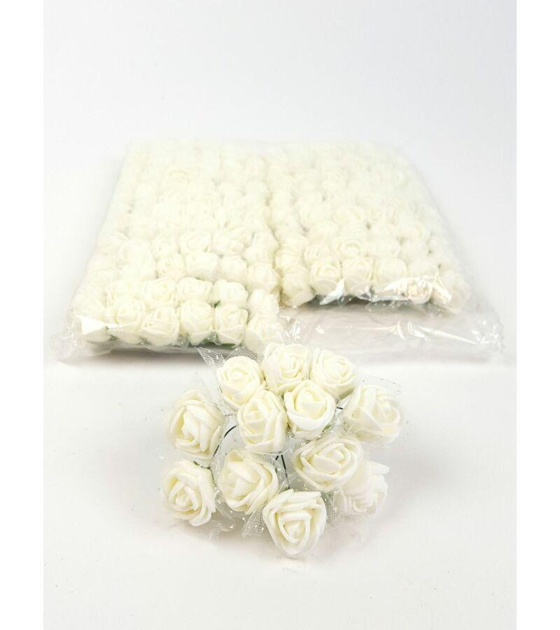 Csomagos mini polyfoam rózsa tülös - Tört Fehér