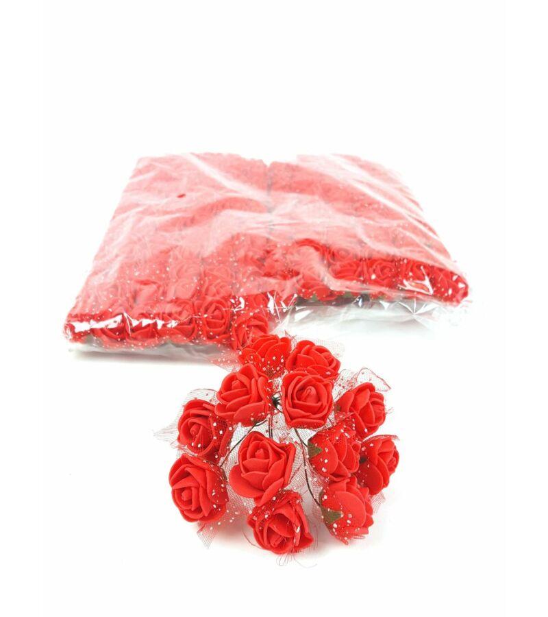 Csomagos mini polyfoam rózsa tülös - Piros