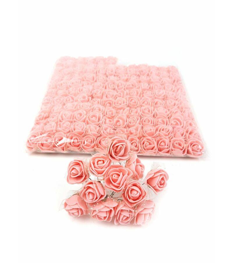 Csomagos mini polyfoam rózsa tülös - Világos Barack