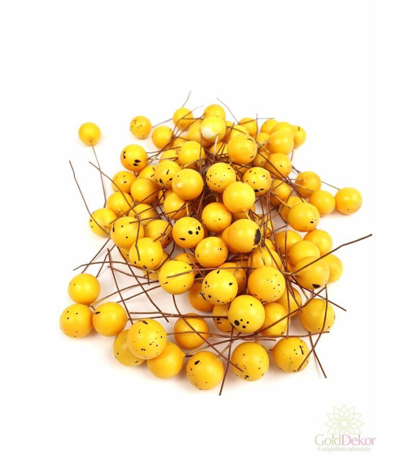 Színes drótos bogyó 1,5 cm - Antik Sárga