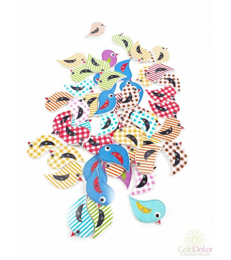 Dekor gomb - Színes kockás madár