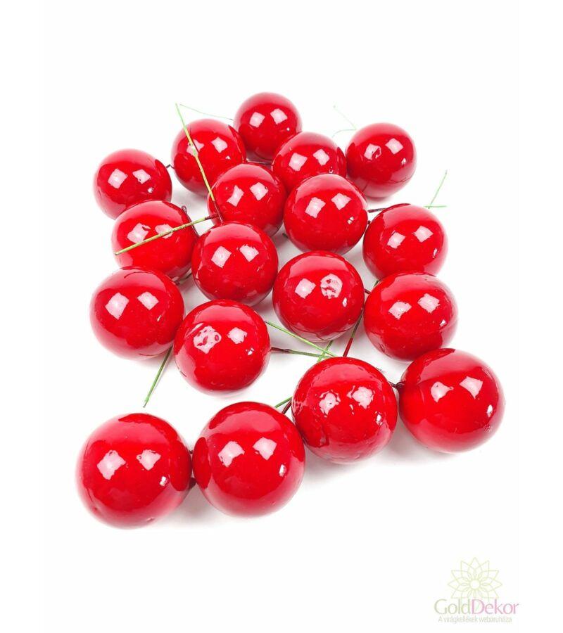 Drótos metál gömb 3,7 cm*18 - Piros