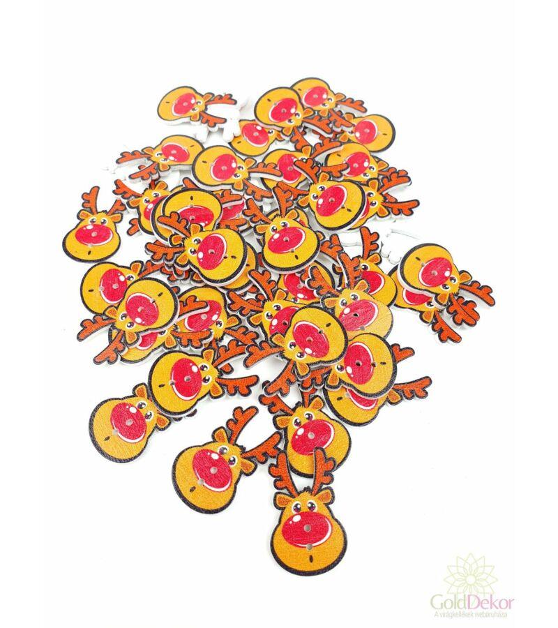 Karácsonyi gomb -  piros nagyorrú rénszarvas