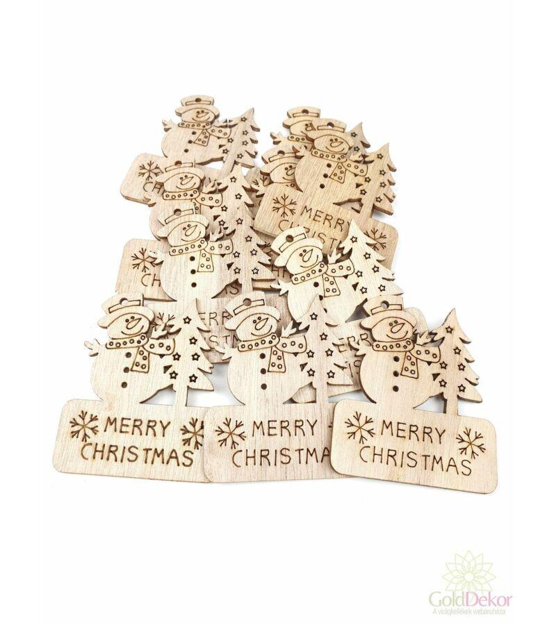 Fa dekor natúr merry christmas tábla