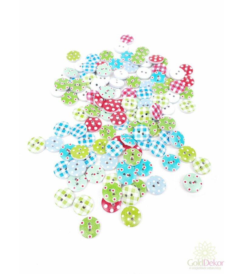 Dekor gomb - Pöttyös kockás