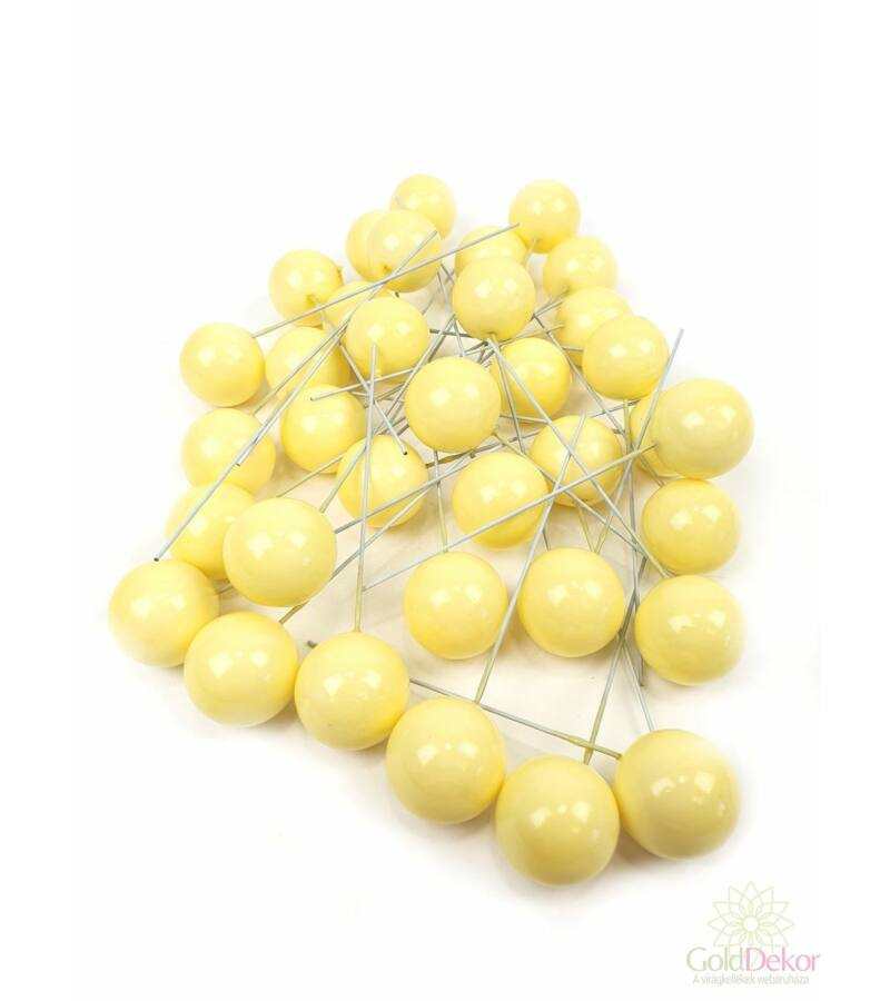 Színes drótos bogyó 2,5 cm*35 - Sárga