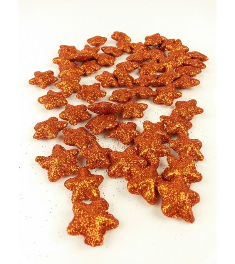 Glitteres csillag kicsi- Narancs