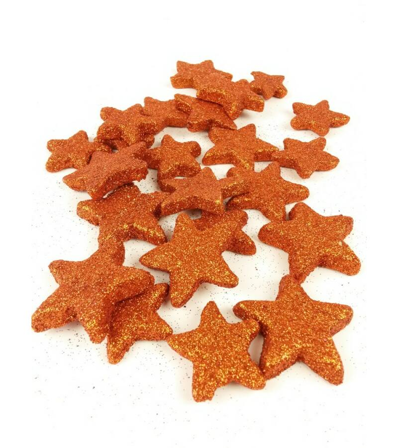 Glitteres csillag vastag - Narancs