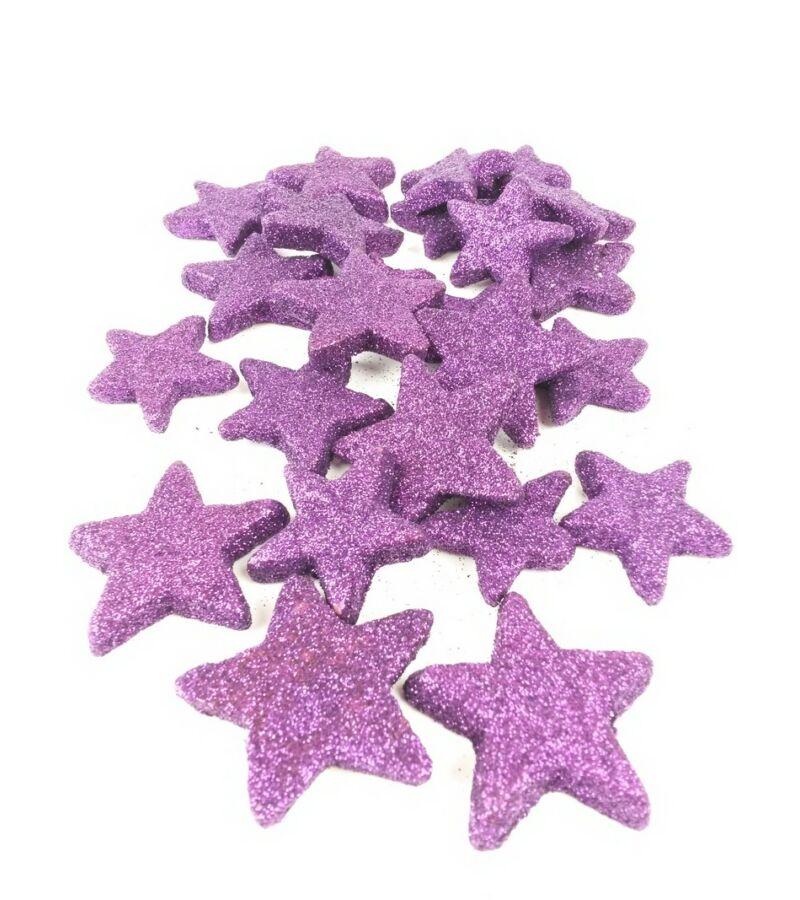 Glitteres csillag vastag - Sötét Lila