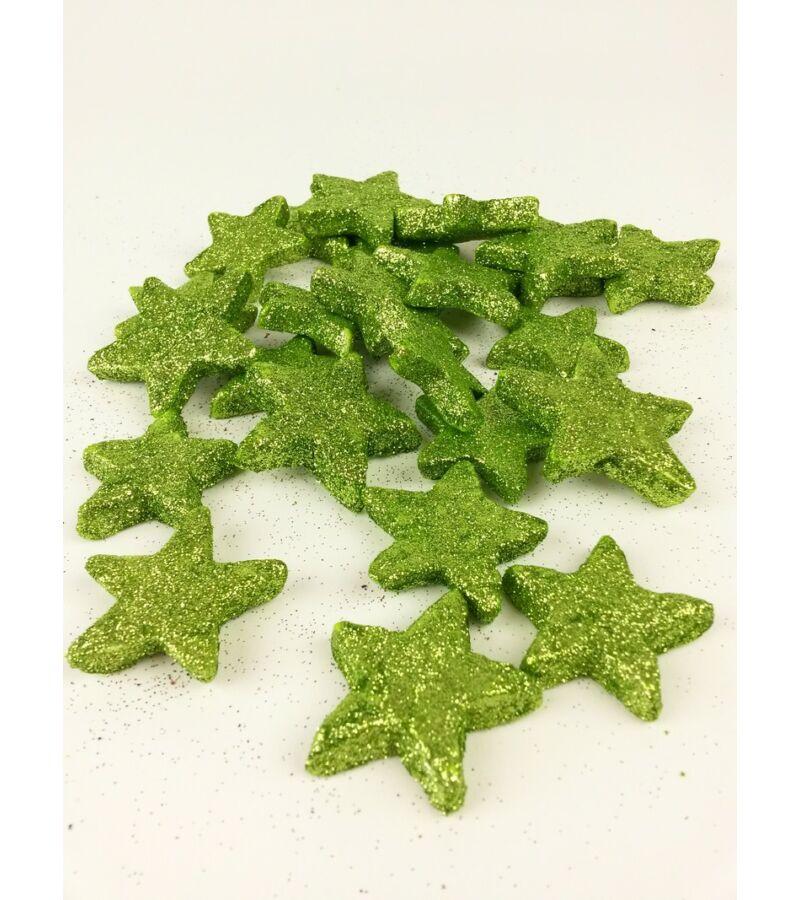 Glitteres csillag vastag - Zöld