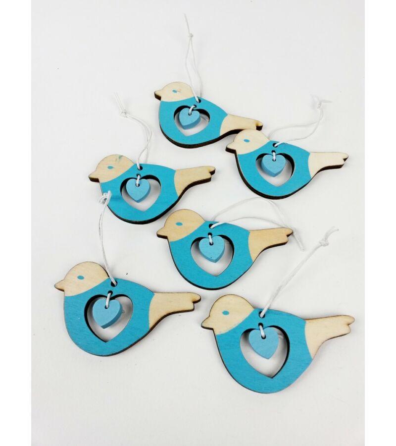 Akasztós szíves madár szett - kék