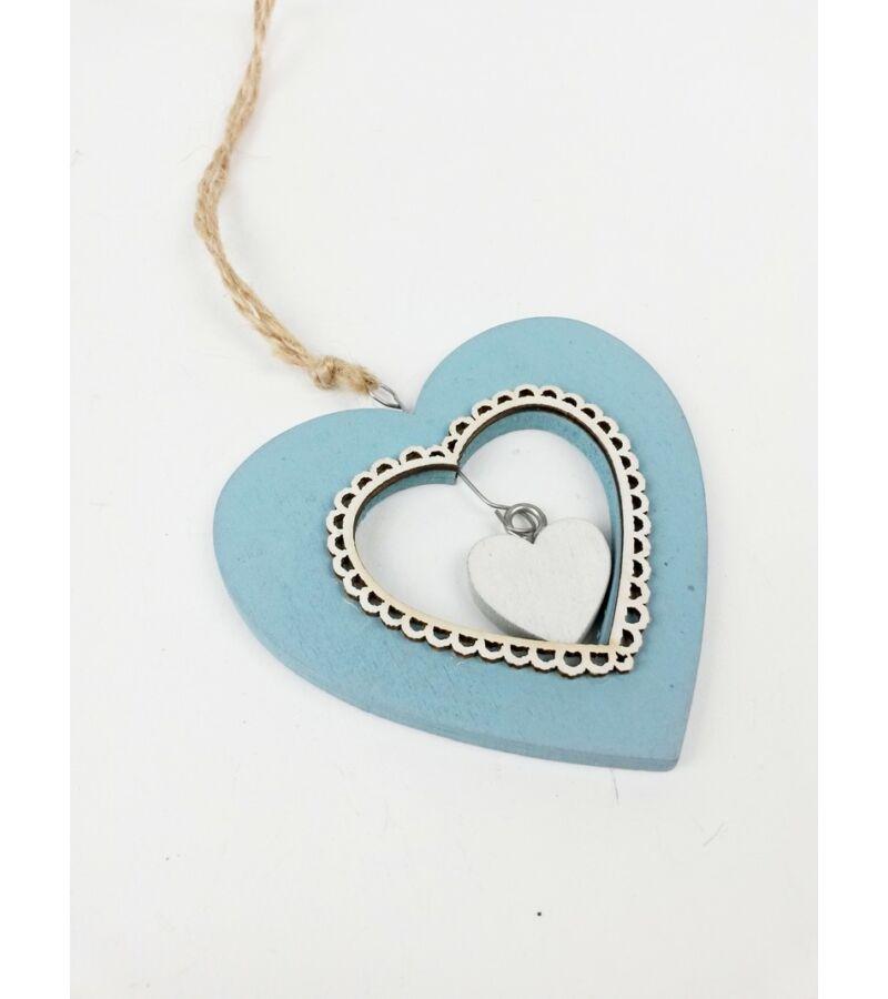 Fa csipkés világos kék - szív