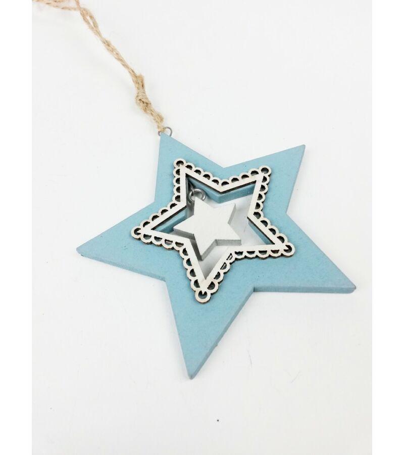 Fa csipkés világos kék - csillag