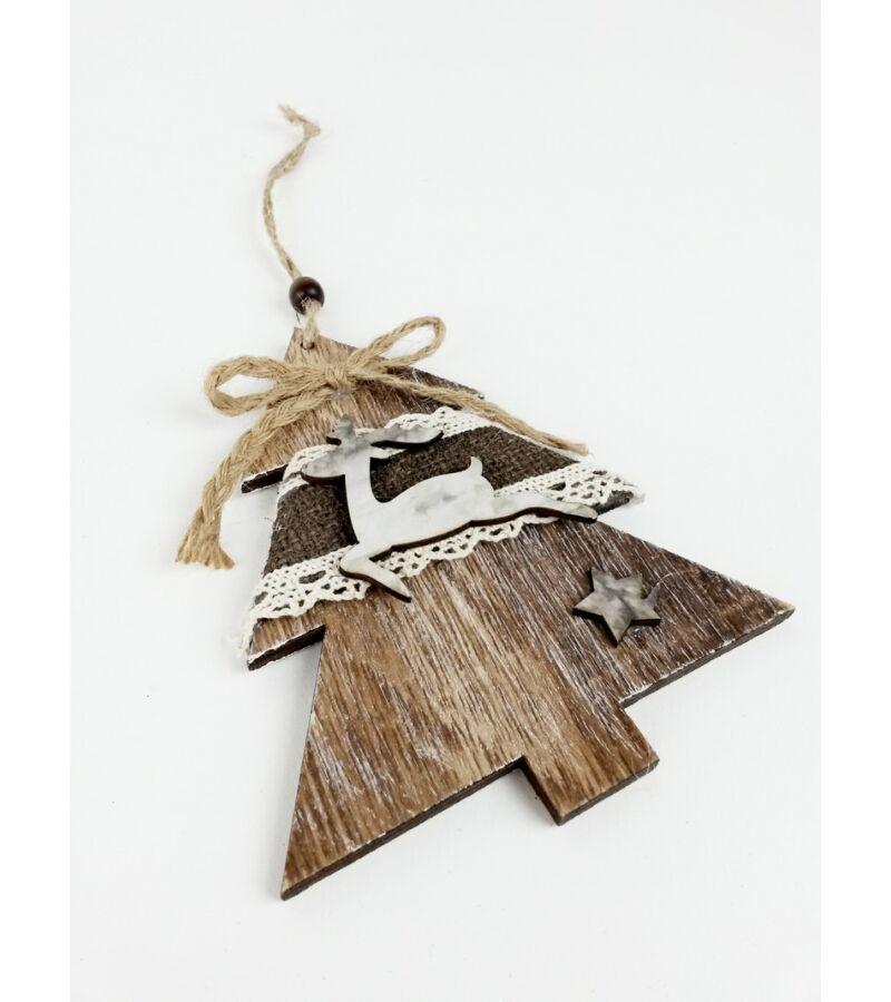 Rusztikus fa dísz csipkével nagy -Fenyő