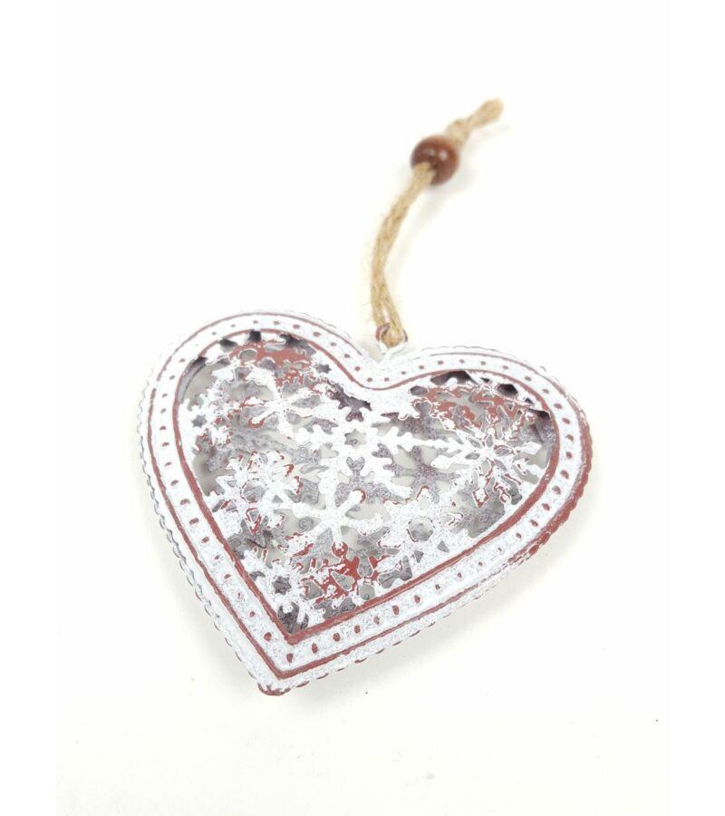 Hópelyhes közepű antikolt fém szív