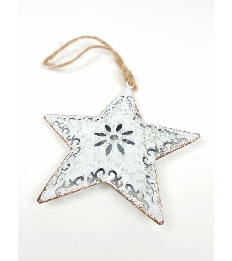Akasztós fém koptatott fehér csillag