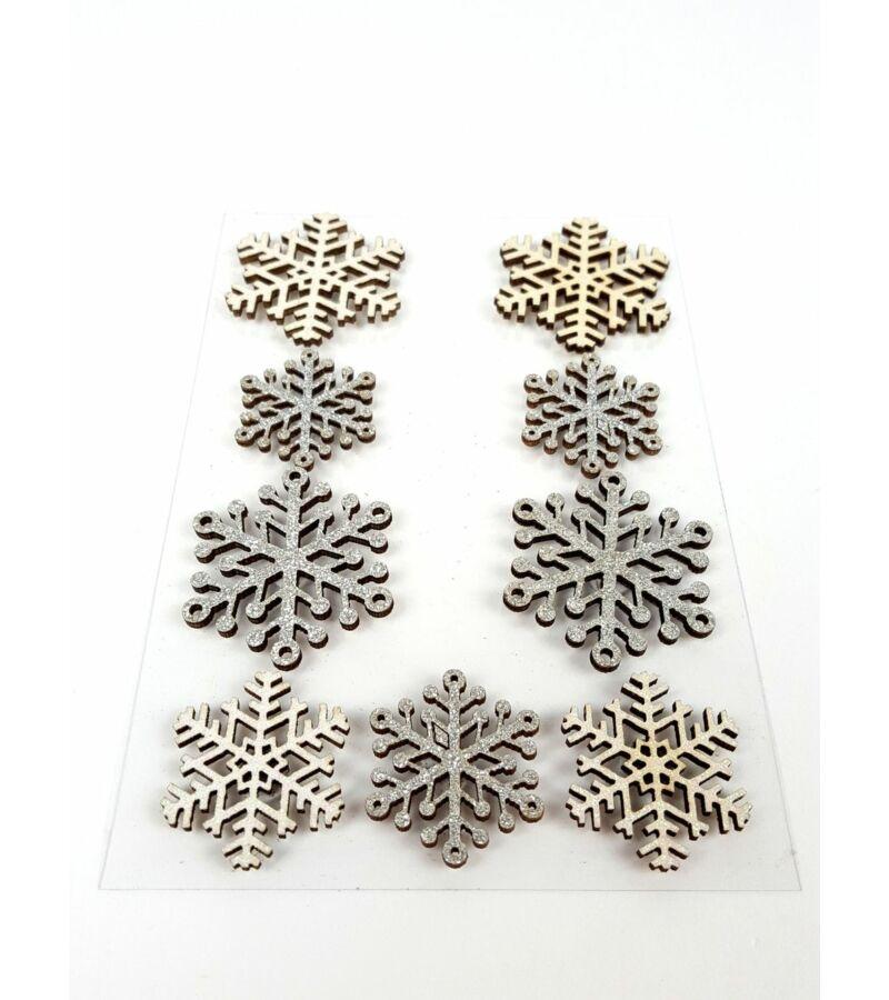 Fa öntapi csillámos hópehely