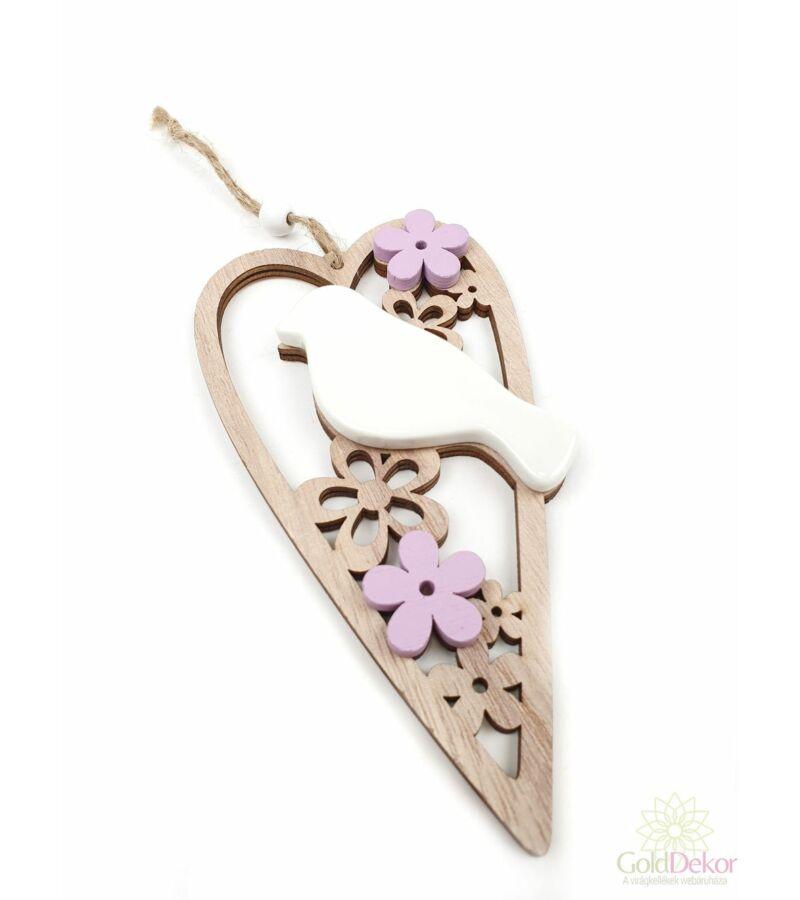 Porcelán madaras fa szív - Lila