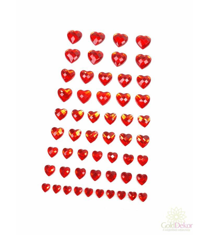Öntapi strassz szív kicsi