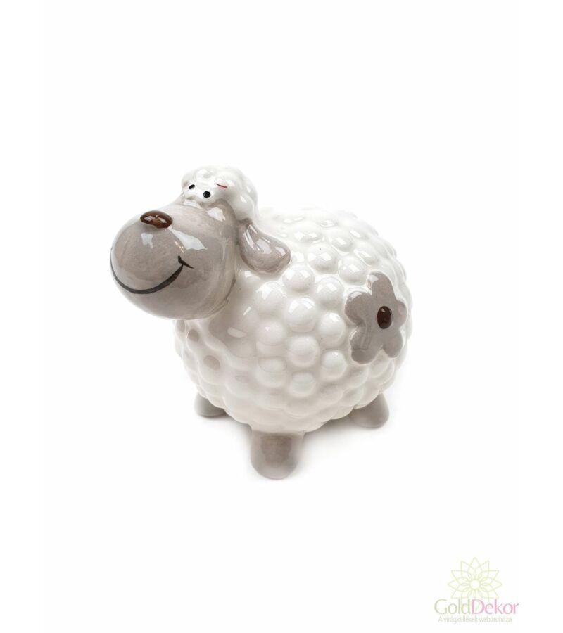 Kerámia virágmintás bárány nagy - Fehér