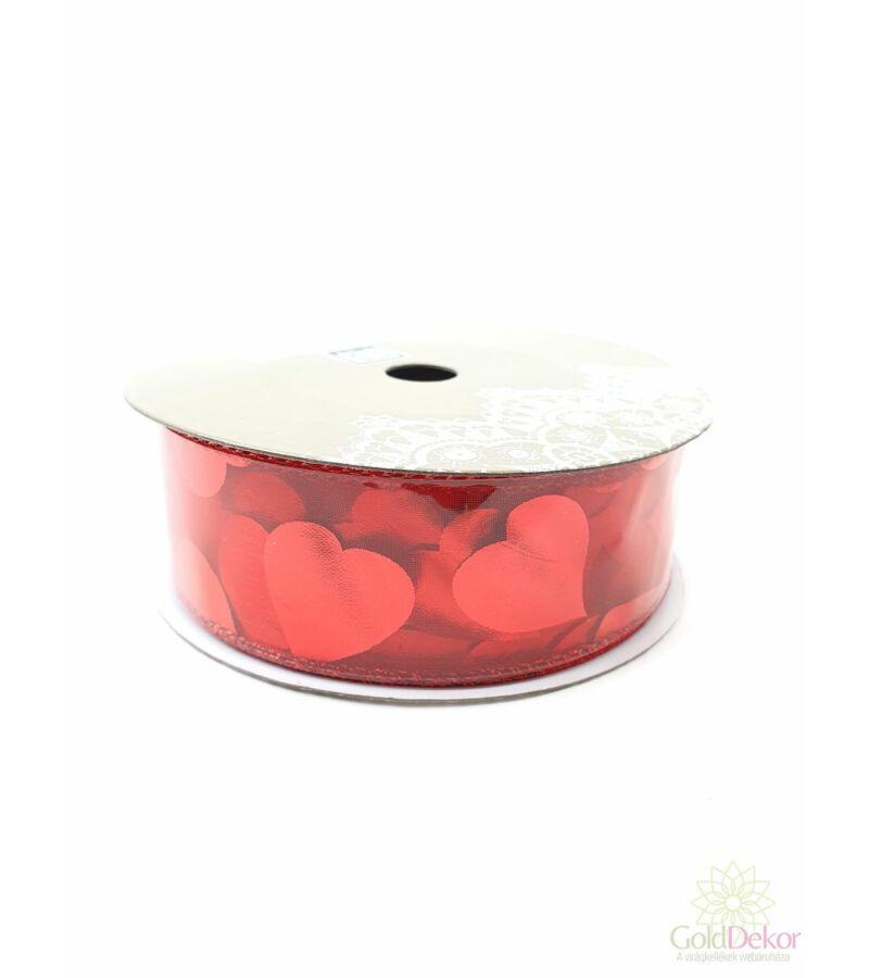 Szíves szalag - Organza piros teli szívvel