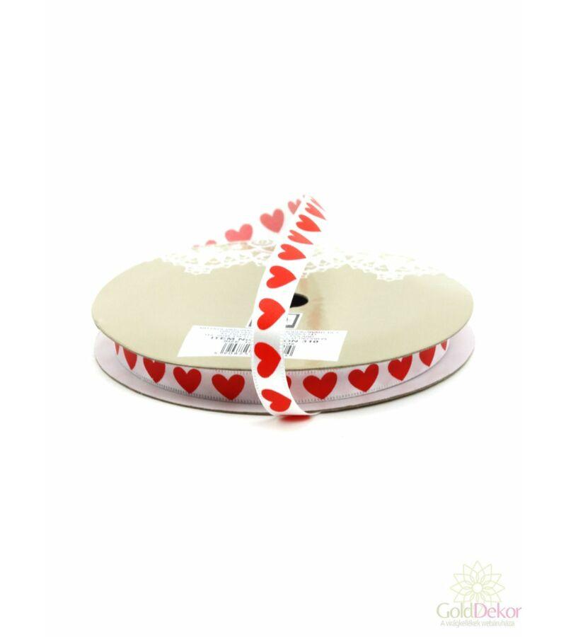 1 cm szíves szatén szalag - Fehér alapon piros szíves