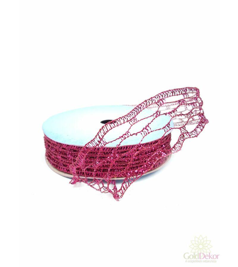 Karácsonyi szalag - Pink hálós