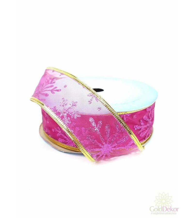 Karácsonyi szalag - Pink hópelyhes