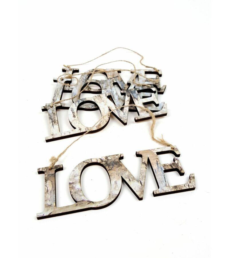 Márvány mintás fa felirat - Love