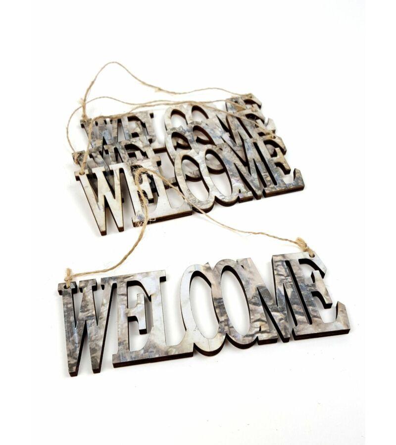 Márvány mintás fa felirat - Welcome