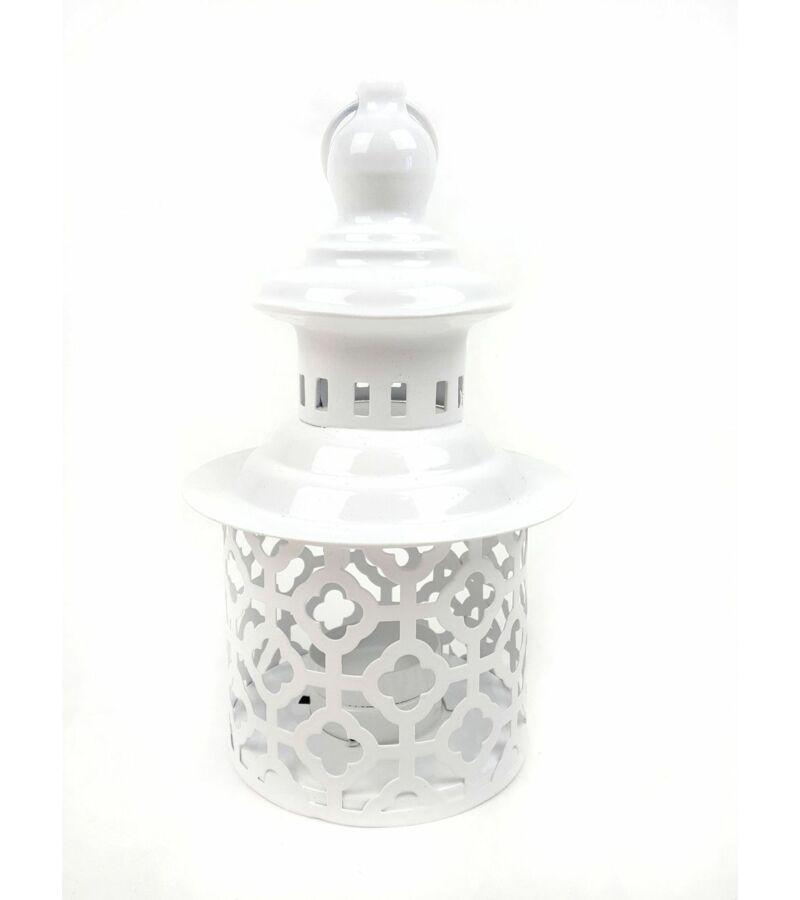 Fehér fém pagoda gyertyatartó