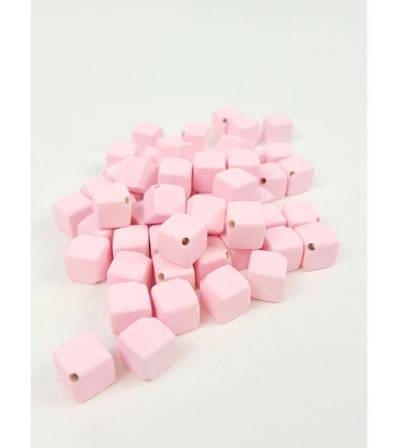 Fűzhetős kocka gyöngy - Rózsaszín