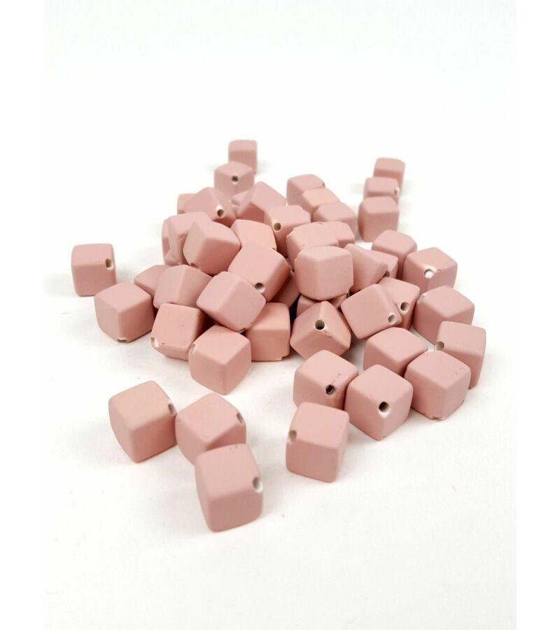 Fűzhetős kocka gyöngy - Púder
