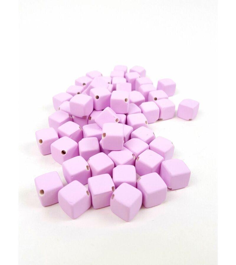 Fűzhetős kocka gyöngy - Világos Lila