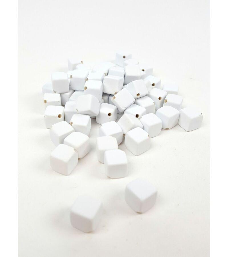 Fűzhetős kocka gyöngy - Fehér