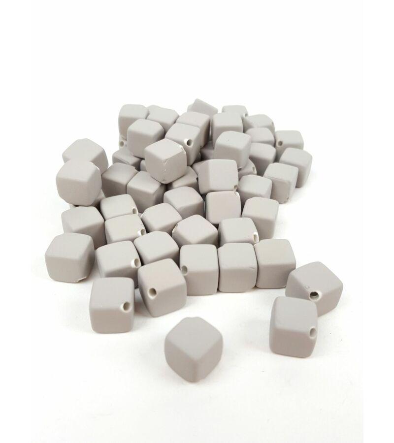 Fűzhetős kocka gyöngy - Szürke