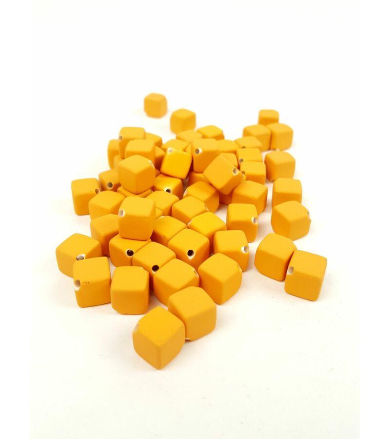 Fűzhetős kocka gyöngy - Napsárga