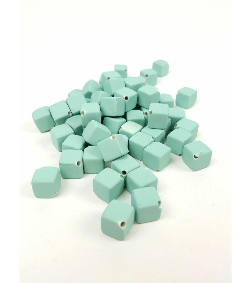 Fűzhetős kocka gyöngy - Menta